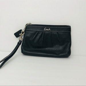Coach | Small Black Leather Wristlet Wallet
